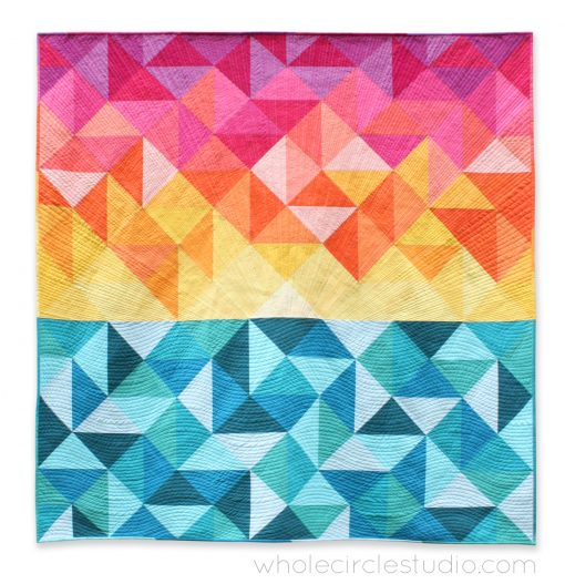 lap quilt | quilt | modern quilt | sewing | half square triangles | modern traditionalism | rainbow | colorful | sunrise | sunset | solid quilt | paintbrush palette| | Aurifil | | thread | whole circle studio | Sheri CIfaldi-Morrill | modern quilting