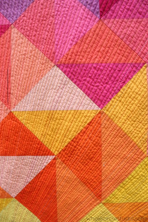 modern quilting | quilting | walking foot quilting | quilt | modern quilt | sewing | half square triangles | modern traditionalism | rainbow | colorful | sunrise | sunset | solid quilt | paintbrush palette| | Aurifil | | thread | whole circle studio | Sheri CIfaldi-Morrill | modern quilting