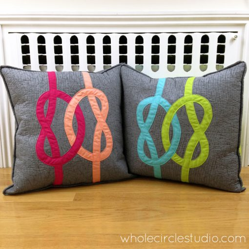 Double Wedding Knot quilt pillows made by Sheri Cifaldi-Morrill, Whole Circle Studio. Custom throw pillows that make the perfect wedding gift.