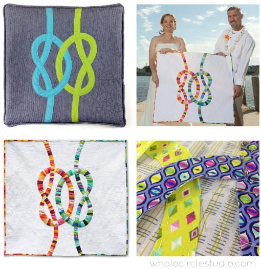 """Double Wedding Knots workshop by Sheri Cifaldi-Morrill of Whole Circle Studio. Perfect for quilt guilds, shops, retreats and conferences. Learn how to make the Double Friendship Knot block (18"""" x 18""""), designed by Sheri. This block incorporates machine piecing and hand needle-turn applique. Students will learn how to prepare the applique (including fabric cutting and piecing) and how to apply the motif using needle-turn applique techniques. Sheri will also teach how you can make a scrappy version in future projects. We'll also review quilting tips. By the end of the workshop, students will have some of the block basted and will start practicing needle-turn applique."""