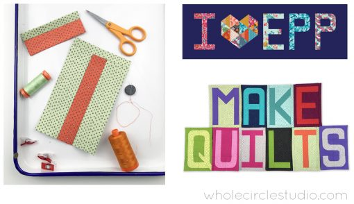 The A to Z of English Paper Piecing workshop by Sheri Cifaldi-Morrill of Whole Circle Studio. Perfect for quilt guilds, shops, retreats and conferences. Customize your own English Paper Piece (EPP) project! This technique and pattern is the perfect portable project. Take it with you while traveling. Have only 10 to 15 minutes at a time? This is an easy project to pick up and put down. Sheri will walk you through all the steps while demonstrating tips and tricks for staying organized, working efficiently, achieving precise alignments and sewing with different stitches to piece both straight lines and curves. This workshop is geared towards the beginner or those who are challenged by English Paper Piecing. Students will practice their EPP skills while making letters of their choice from Sheri's newest pattern, Typecast. Some students will have completed or almost completed one letter by the end of the day. Students can make additional letters to customize their own quilt. The possibilities are endless!