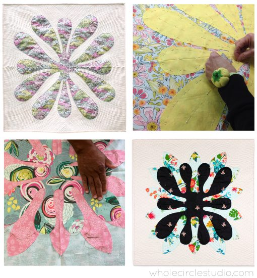 Hawaiian-Inspired Applique workshop by Sheri Cifaldi-Morrill of Whole Circle Studio. Perfect for quilt guilds, shops, retreats and conferences. Learn how to make the Big Island Blossom or Island Bloom mini quilt designed by Sheri. This quilt is a modern interpretation of traditional Hawaiian quilts which Sheri admired while on vacation. Students will learn how to prepare the applique (including folding, cutting and basting) and how to apply the motif using needle-turn applique techniques. Class includes a brief introduction to traditional Hawaiian quilts, best practices, step-by-step instructions and quilting tips. Sewing machines are not required for this workshop. This is a fun, relaxing slow-stitching workshop.