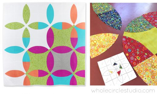 Picnic Petals quilt by Whole Circle Studio. Learn how to piece curves workshop / class for quilt shops, guilds, retreats and quilt conferences. Learn How to Piece Curves! Does the thought of sewing curves give you anxiety? Don't fear the curve! Students will learn tips and tricks to create a fantastic curve while making blocks. Class includes step-by-step instructions and quilting tips. Sheri will also share her favorite tools and tips for staying organized. This is a good class for quilters who have never sewed curves or those who want to gain more experience.