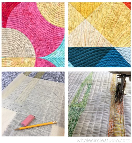 Examples of walking foot quilting reviewed by Sheri Cifaldi-Morrill in her modern quilting workshop for guilds, shops and conferences.