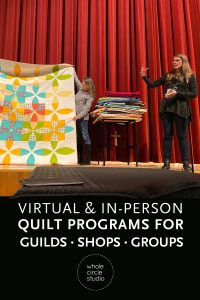 """Want to learn new quilting skills? Need inspiration? I've got a program for that! (and I love working with guilds, shops, and groups). Take a workshop or book a presentation with Sheri Cifaldi-Morrill. Programs include """"Approaching Quilting as  a Graphic Designer"""", Aurifilosophy: a thread education program from the thread makers of Aurifil, Learning how to Piece Curves, Hawaiian Inspired Applique, English Paper Piecing, and Walking Foot Quilting."""